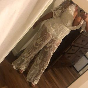 Size small gorgeous summer white jumpsuit lace